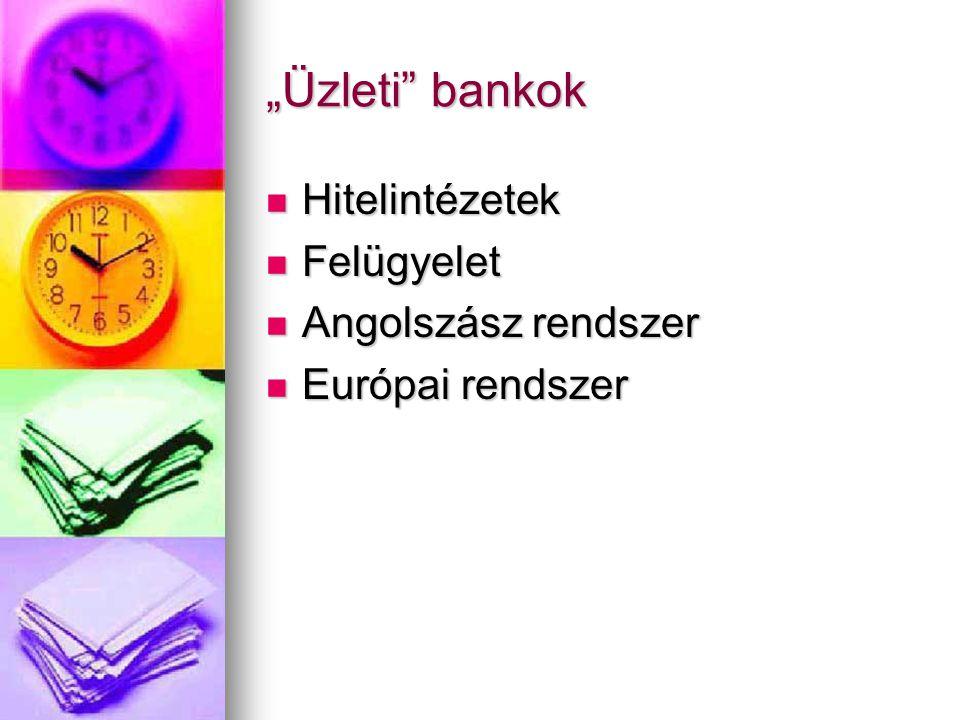 """""""Üzleti"""" bankok  Hitelintézetek  Felügyelet  Angolszász rendszer  Európai rendszer"""