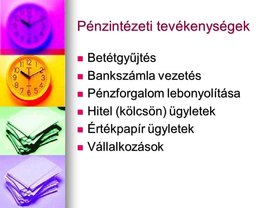 Pénzintézeti tevékenységek  Betétgyűjtés  Bankszámla vezetés  Pénzforgalom lebonyolítása  Hitel (kölcsön) ügyletek  Értékpapír ügyletek  Vállalkozások