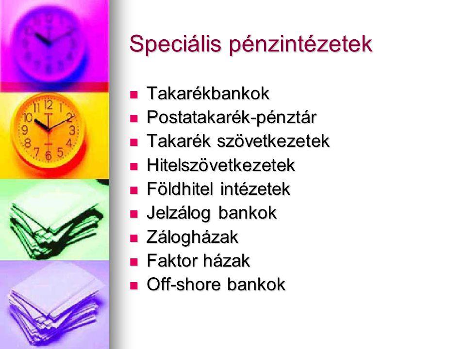 Speciális pénzintézetek  Takarékbankok  Postatakarék-pénztár  Takarék szövetkezetek  Hitelszövetkezetek  Földhitel intézetek  Jelzálog bankok 