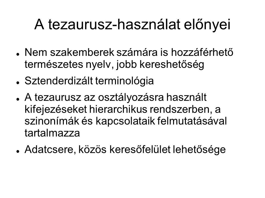 A tezaurusz-használat előnyei  Nem szakemberek számára is hozzáférhető természetes nyelv, jobb kereshetőség  Sztenderdizált terminológia  A tezauru