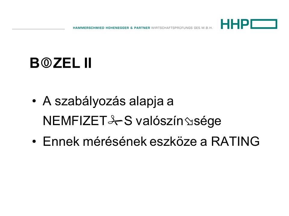 B  ZEL II •A szabályozás alapja a NEMFIZET  S valószín  sége •Ennek mérésének eszköze a RATING