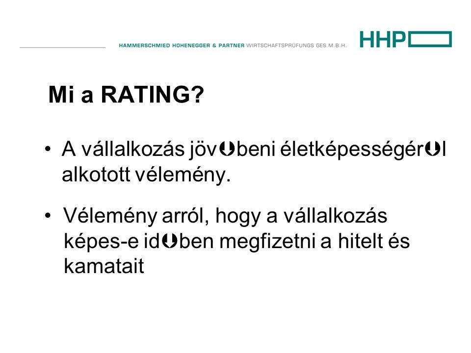 Mi a RATING? •A vállalkozás jöv  beni életképességér  l alkotott vélemény. • Vélemény arról, hogy a vállalkozás képes-e id  ben megfizetni a hitelt