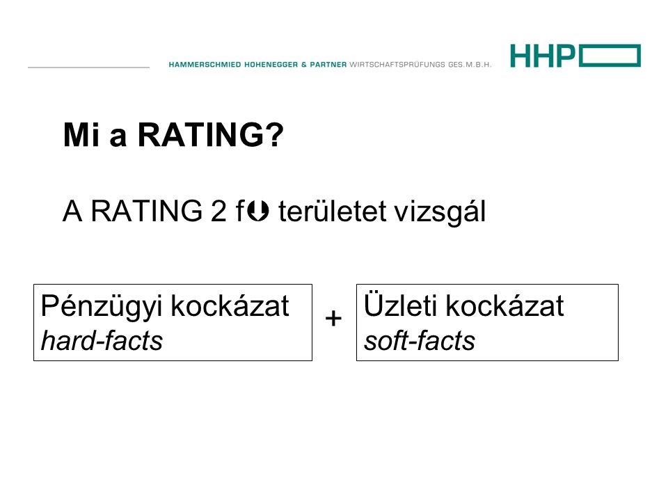 Mi a RATING? A RATING 2 f  területet vizsgál Üzleti kockázat soft-facts + Pénzügyi kockázat hard-facts