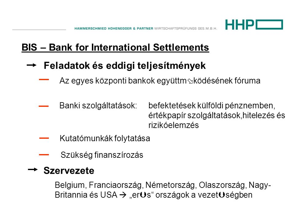 """BIS – Bank for International Settlements Feladatok és eddigi teljesítmények Az egyes központi bankok együttm  ködésének fóruma Banki szolgáltatások:befektetések külföldi pénznemben, értékpapír szolgáltatások,hitelezés és rizikóelemzés Kutatómunkák folytatása Szükség finanszírozás Szervezete Belgium, Franciaország, Németország, Olaszország, Nagy- Britannia és USA  """"er  s országok a vezet  ségben"""