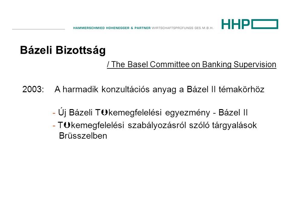 Bázeli Bizottság / The Basel Committee on Banking Supervision 2003: A harmadik konzultációs anyag a Bázel II témakörhöz - Új Bázeli T  kemegfelelési egyezmény - Bázel II - T  kemegfelelési szabályozásról szóló tárgyalások Brüsszelben
