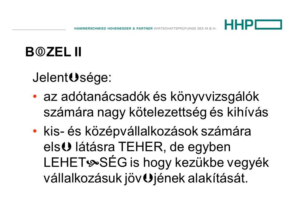 B  ZEL II Jelent  sége: •az adótanácsadók és könyvvizsgálók számára nagy kötelezettség és kihívás •kis- és középvállalkozások számára els  látásra TEHER, de egyben LEHET  SÉG is hogy kezükbe vegyék vállalkozásuk jöv  jének alakítását.