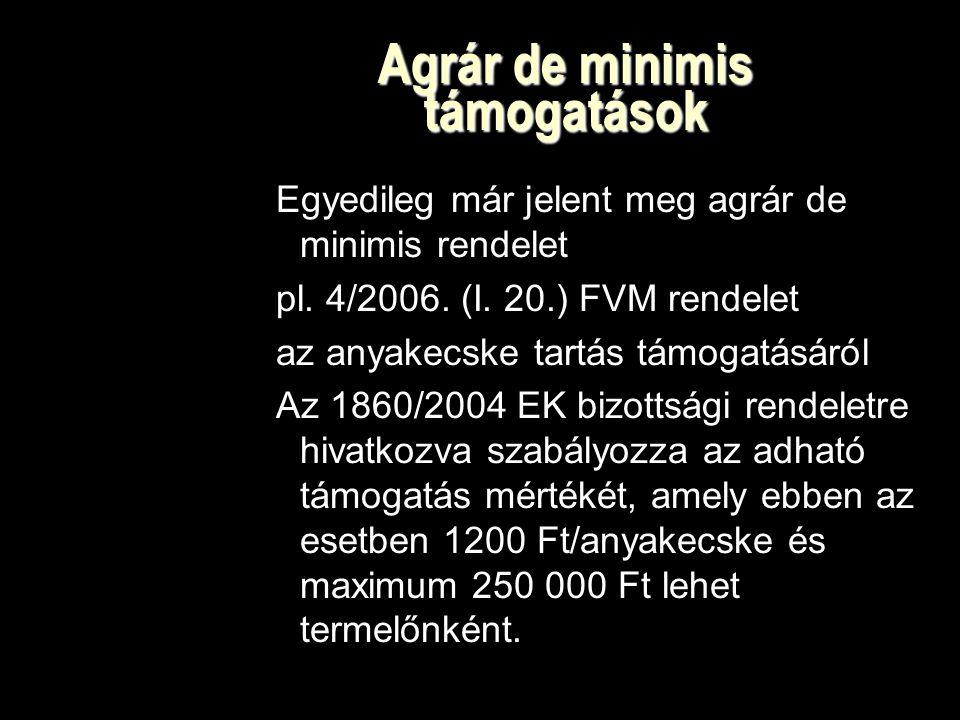Agrár de minimis támogatások Egyedileg már jelent meg agrár de minimis rendelet pl.