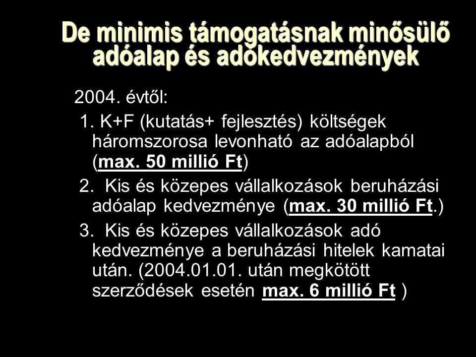 De minimis támogatásnak minősülő adóalap és adókedvezmények 2004.