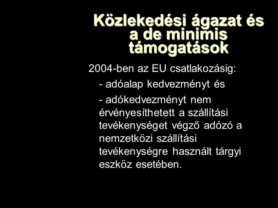 Közlekedési ágazat és a de minimis támogatások 2004-ben az EU csatlakozásig: - adóalap kedvezményt és - adókedvezményt nem érvényesíthetett a szállítási tevékenységet végző adózó a nemzetközi szállítási tevékenységre használt tárgyi eszköz esetében.
