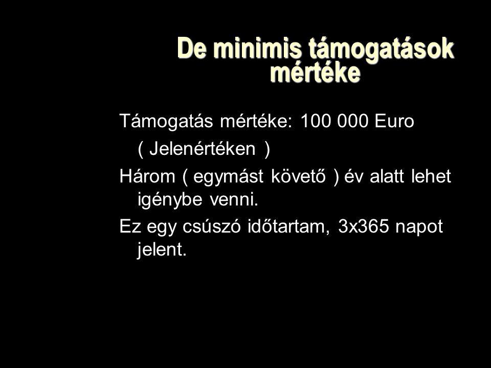 De minimis támogatások mértéke Támogatás mértéke: 100 000 Euro ( Jelenértéken ) Három ( egymást követő ) év alatt lehet igénybe venni.