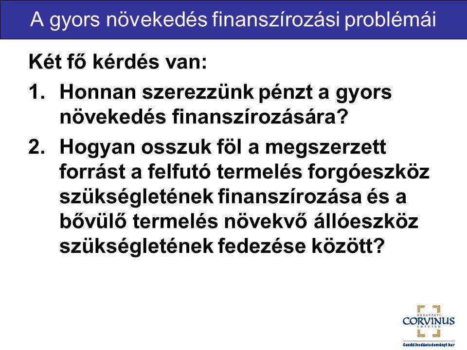 A gyors növekedés finanszírozási problémái Két fő kérdés van: 1.Honnan szerezzünk pénzt a gyors növekedés finanszírozására? 2.Hogyan osszuk föl a megs