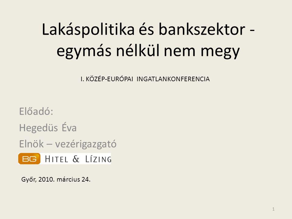 Lakáspolitika és bankszektor - egymás nélkül nem megy Előadó: Hegedüs Éva Elnök – vezérigazgató Győr, 2010. március 24. 1 I. KÖZÉP-EURÓPAI INGATLANKON