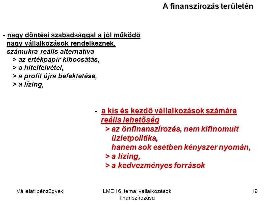 Vállalati pénzügyekLMEII 6. téma: vállalkozások finanszírozása 19 - nagy döntési szabadsággal a jól működő nagy vállalkozások rendelkeznek, nagy válla