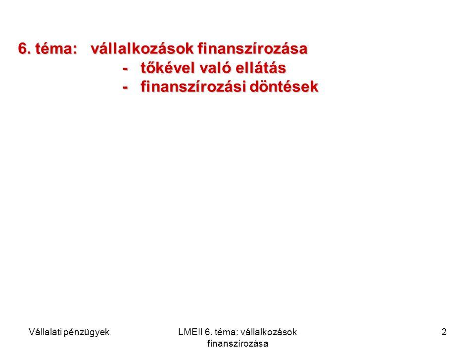 Vállalati pénzügyekLMEII 6. téma: vállalkozások finanszírozása 2 6. téma: vállalkozások finanszírozása - tőkével való ellátás - finanszírozási döntése