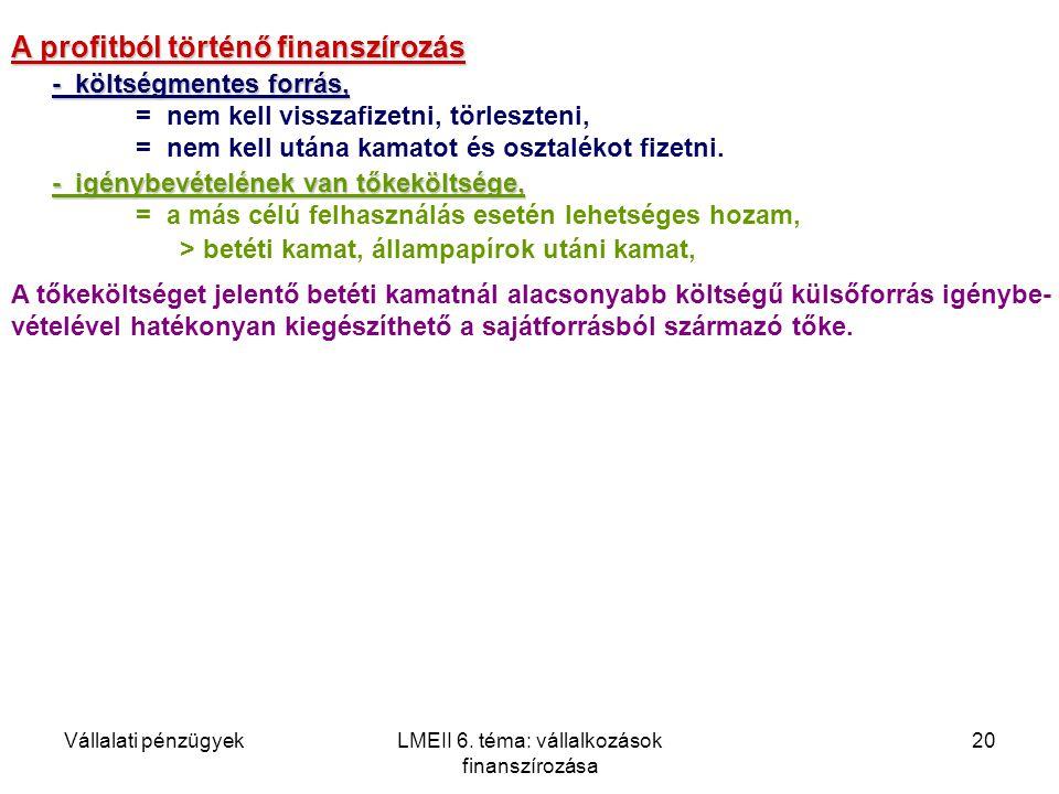 Vállalati pénzügyekLMEII 6. téma: vállalkozások finanszírozása 20 A profitból történő finanszírozás - költségmentes forrás, = nem kell visszafizetni,