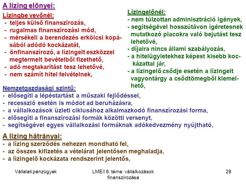 Vállalati pénzügyekLMEII 6. téma: vállalkozások finanszírozása 28 A lízing előnyei: Lízingbe vevőnél: - teljes külső finanszírozás, - rugalmas finansz