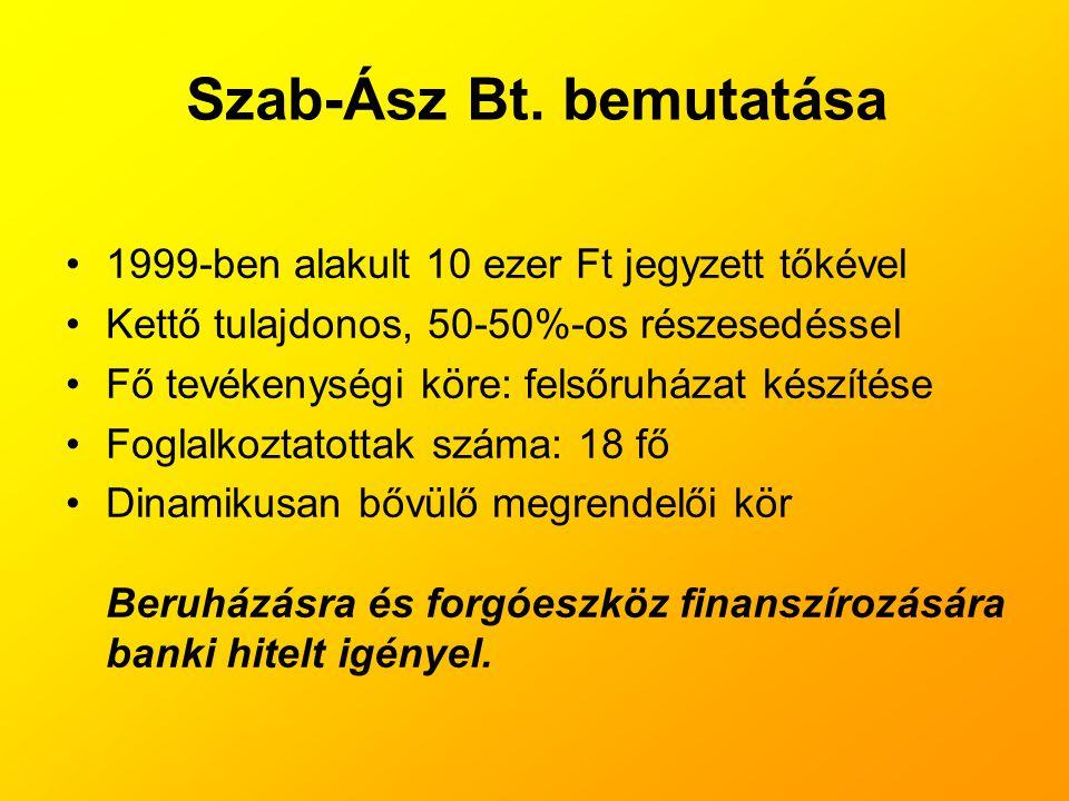 Szab-Ász Bt. bemutatása •1999-ben alakult 10 ezer Ft jegyzett tőkével •Kettő tulajdonos, 50-50%-os részesedéssel •Fő tevékenységi köre: felsőruházat k