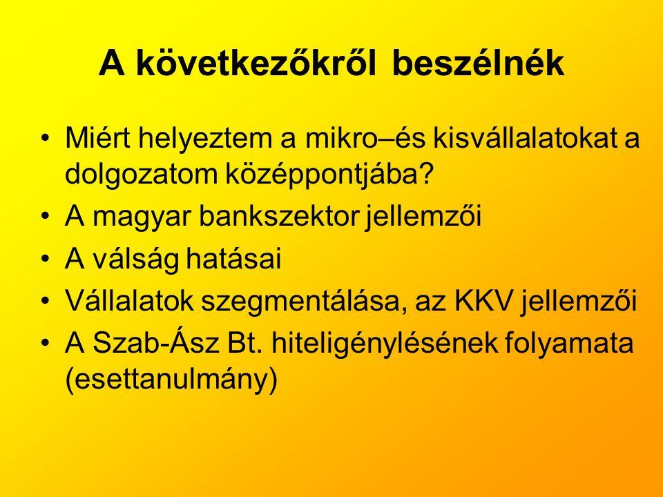 A következőkről beszélnék •Miért helyeztem a mikro–és kisvállalatokat a dolgozatom középpontjába? •A magyar bankszektor jellemzői •A válság hatásai •V
