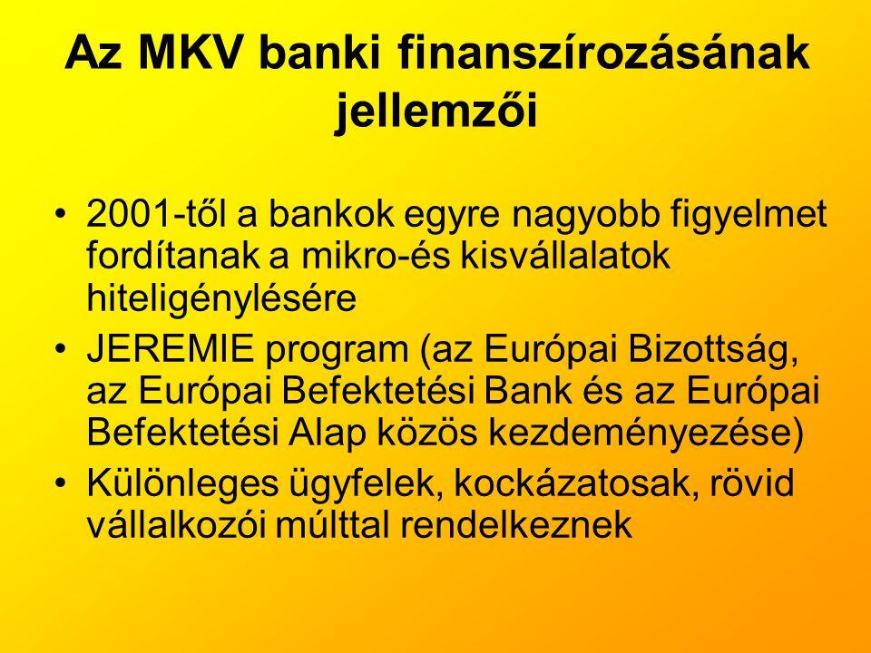 Az MKV banki finanszírozásának jellemzői •2001-től a bankok egyre nagyobb figyelmet fordítanak a mikro-és kisvállalatok hiteligénylésére •JEREMIE prog