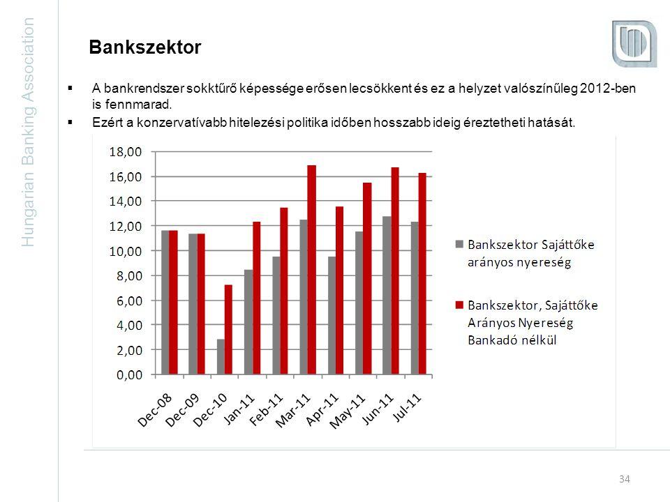 Hungarian Banking Association 34 Bankszektor  A bankrendszer sokktűrő képessége erősen lecsökkent és ez a helyzet valószínűleg 2012-ben is fennmarad.