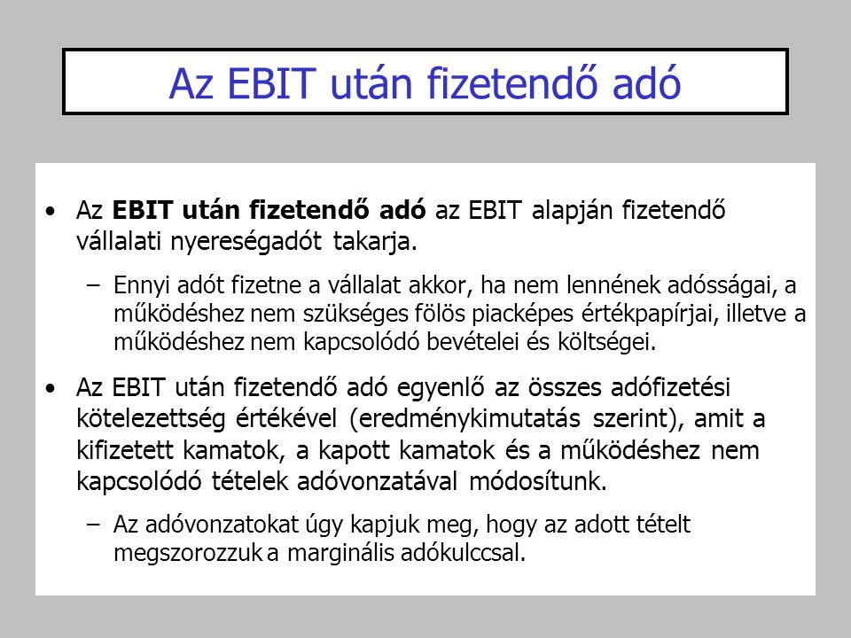 Az EBIT után fizetendő adó •Az EBIT után fizetendő adó az EBIT alapján fizetendő vállalati nyereségadót takarja. –Ennyi adót fizetne a vállalat akkor,