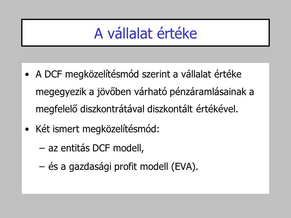 A vállalat értéke •A DCF megközelítésmód szerint a vállalat értéke megegyezik a jövőben várható pénzáramlásainak a megfelelő diszkontrátával diszkontá
