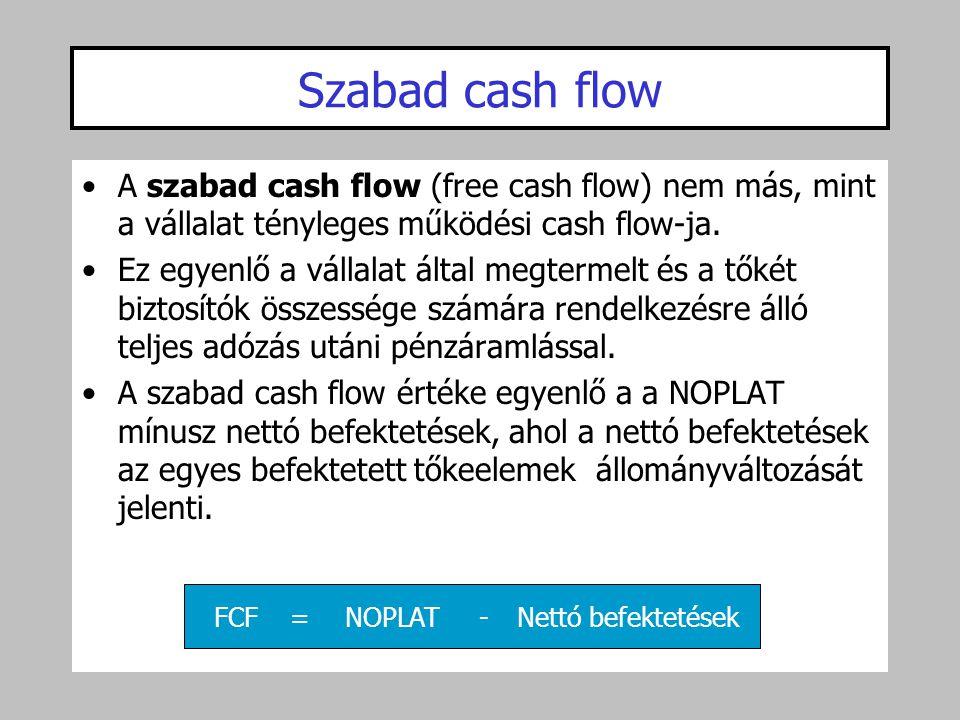 •A szabad cash flow (free cash flow) nem más, mint a vállalat tényleges működési cash flow-ja. •Ez egyenlő a vállalat által megtermelt és a tőkét bizt