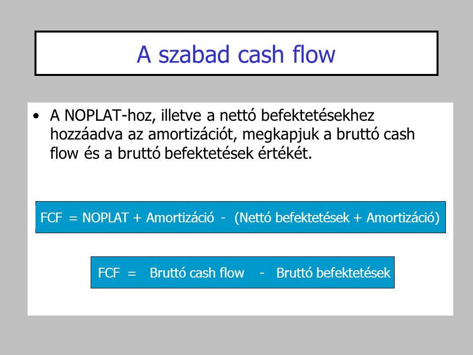 A szabad cash flow •A NOPLAT-hoz, illetve a nettó befektetésekhez hozzáadva az amortizációt, megkapjuk a bruttó cash flow és a bruttó befektetések ért
