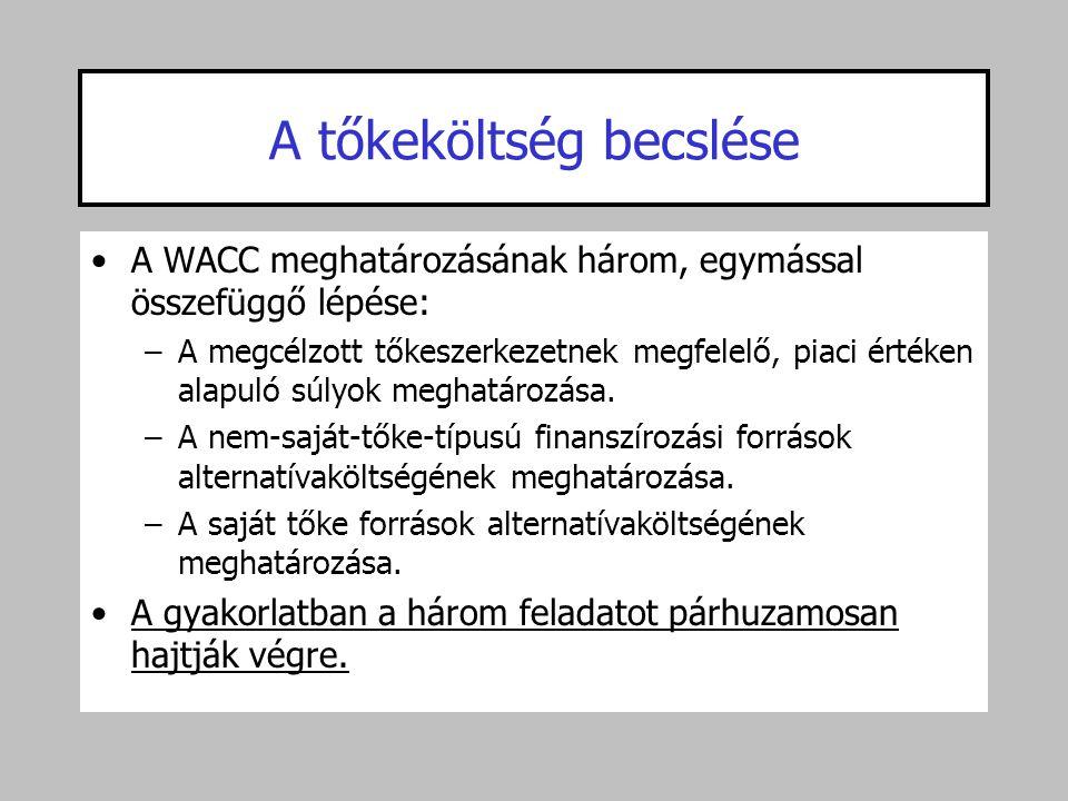 A tőkeköltség becslése •A WACC meghatározásának három, egymással összefüggő lépése: –A megcélzott tőkeszerkezetnek megfelelő, piaci értéken alapuló sú