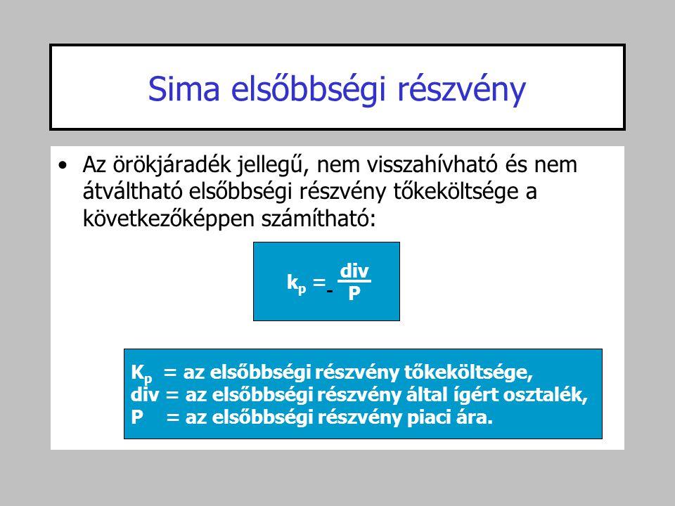 Sima elsőbbségi részvény •Az örökjáradék jellegű, nem visszahívható és nem átváltható elsőbbségi részvény tőkeköltsége a következőképpen számítható: k
