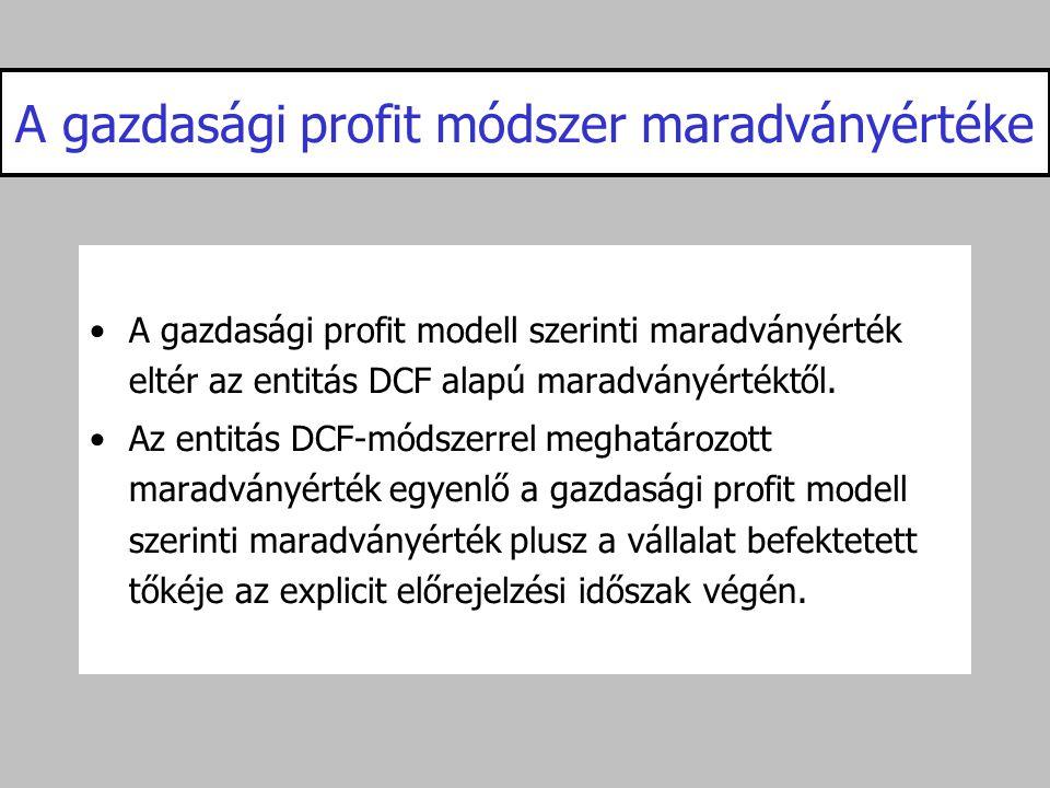 A gazdasági profit módszer maradványértéke •A gazdasági profit modell szerinti maradványérték eltér az entitás DCF alapú maradványértéktől. •Az entitá