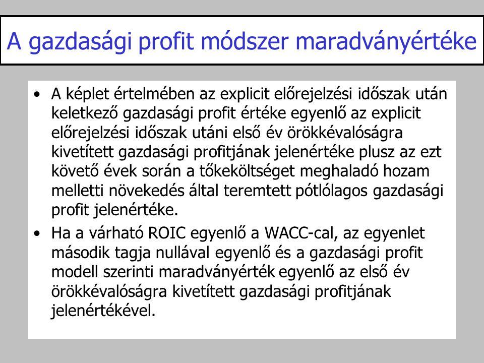 A gazdasági profit módszer maradványértéke •A képlet értelmében az explicit előrejelzési időszak után keletkező gazdasági profit értéke egyenlő az exp