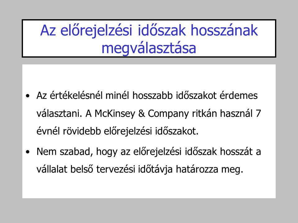 Az előrejelzési időszak hosszának megválasztása •Az értékelésnél minél hosszabb időszakot érdemes választani. A McKinsey & Company ritkán használ 7 év