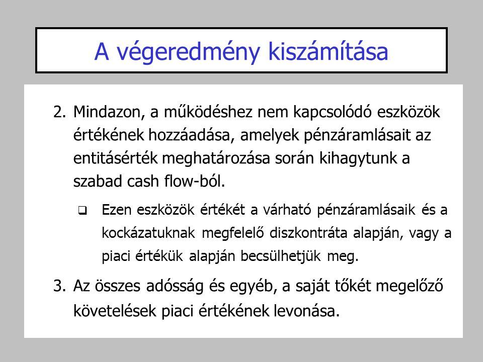 A végeredmény kiszámítása 2.Mindazon, a működéshez nem kapcsolódó eszközök értékének hozzáadása, amelyek pénzáramlásait az entitásérték meghatározása