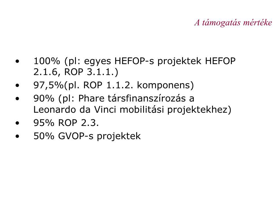 A támogatás mértéke •100% (pl: egyes HEFOP-s projektek HEFOP 2.1.6, ROP 3.1.1.) •97,5%(pl. ROP 1.1.2. komponens) •90% (pl: Phare társfinanszírozás a L