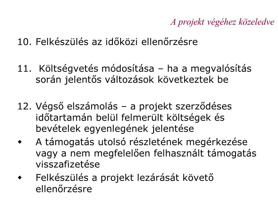 A projekt végéhez közeledve 10.Felkészülés az időközi ellenőrzésre 11. Költségvetés módosítása – ha a megvalósítás során jelentős változások következt