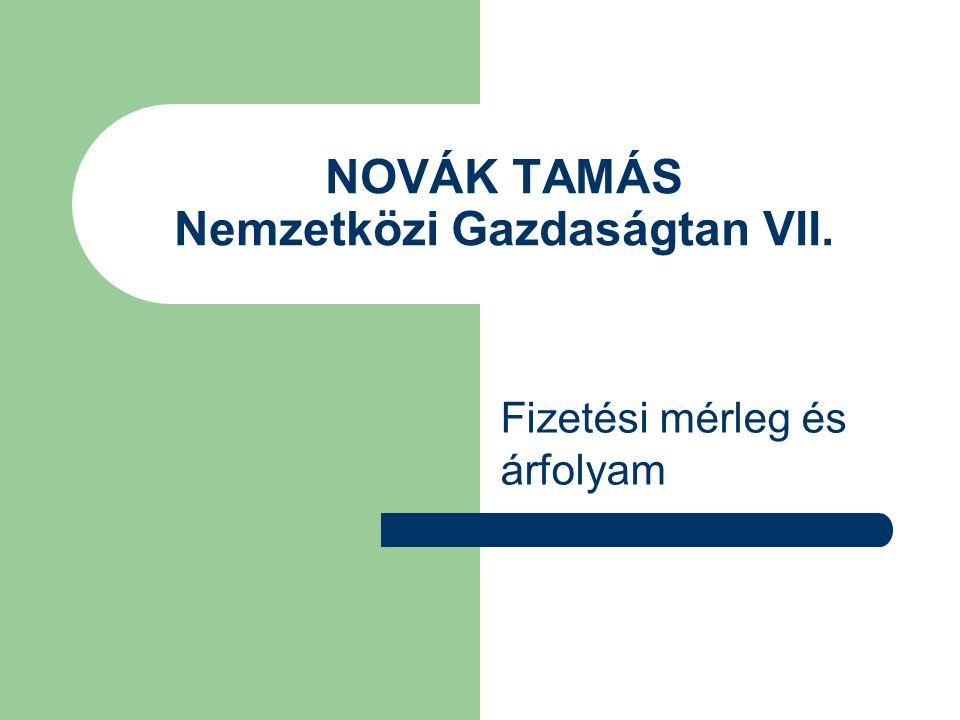 NOVÁK TAMÁS Nemzetközi Gazdaságtan VII. Fizetési mérleg és árfolyam