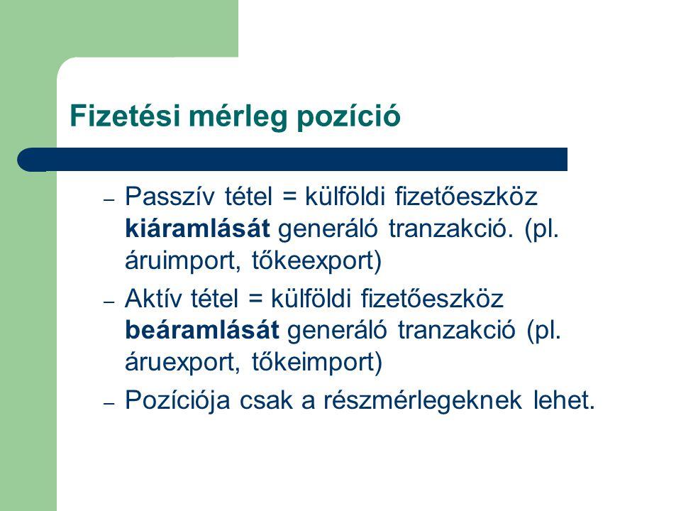 Fizetési mérleg pozíció – Passzív tétel = külföldi fizetőeszköz kiáramlását generáló tranzakció. (pl. áruimport, tőkeexport) – Aktív tétel = külföldi