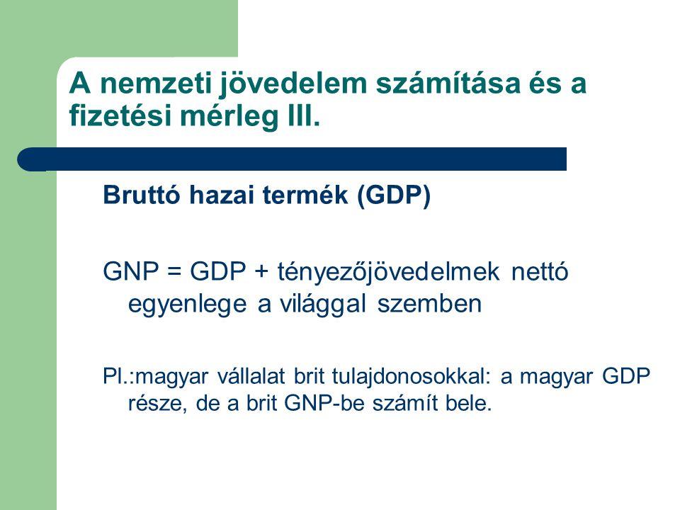 A nemzeti jövedelem számítása és a fizetési mérleg III. Bruttó hazai termék (GDP) GNP = GDP + tényezőjövedelmek nettó egyenlege a világgal szemben Pl.