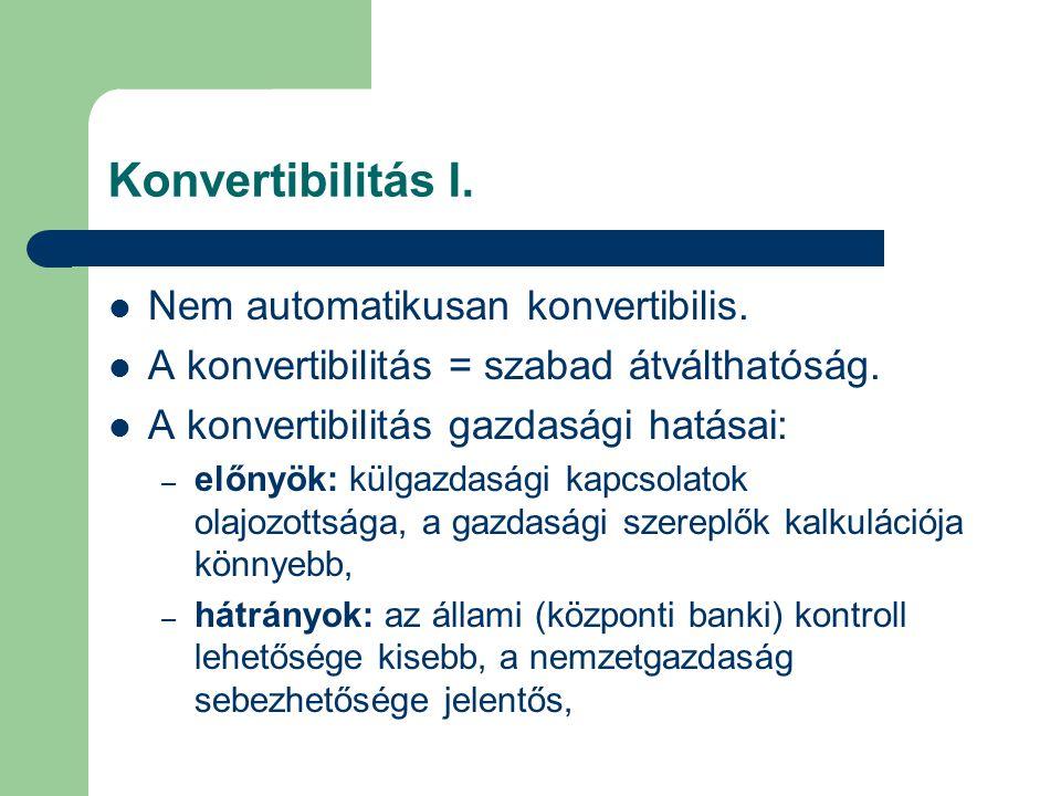Konvertibilitás I.  Nem automatikusan konvertibilis.  A konvertibilitás = szabad átválthatóság.  A konvertibilitás gazdasági hatásai: – előnyök: kü