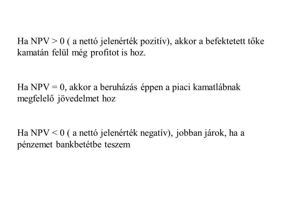 Ha NPV > 0 ( a nettó jelenérték pozitív), akkor a befektetett tőke kamatán felül még profitot is hoz.