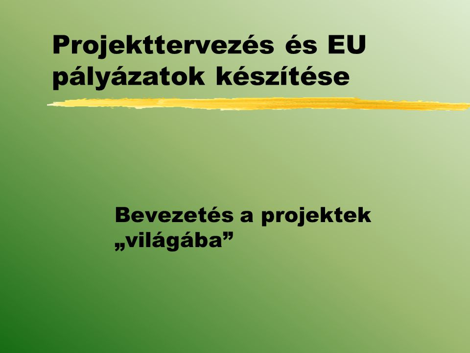 """Projekttervezés és EU pályázatok készítése Bevezetés a projektek """"világába"""
