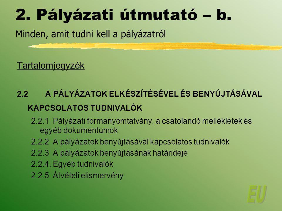 2.Pályázati útmutató – b.