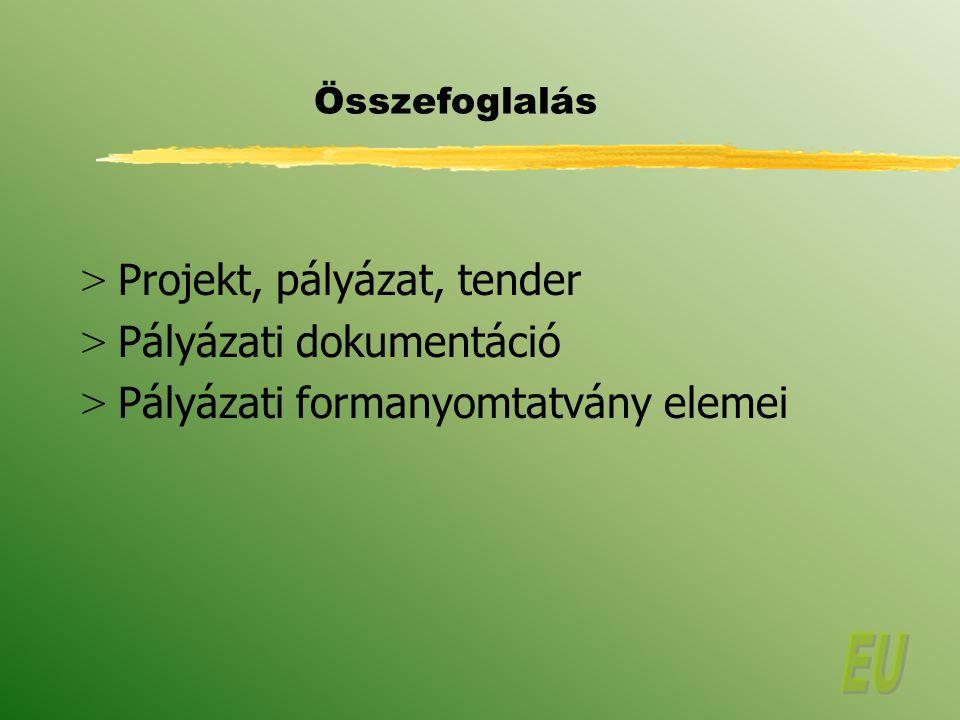 Összefoglalás > Projekt, pályázat, tender > Pályázati dokumentáció > Pályázati formanyomtatvány elemei