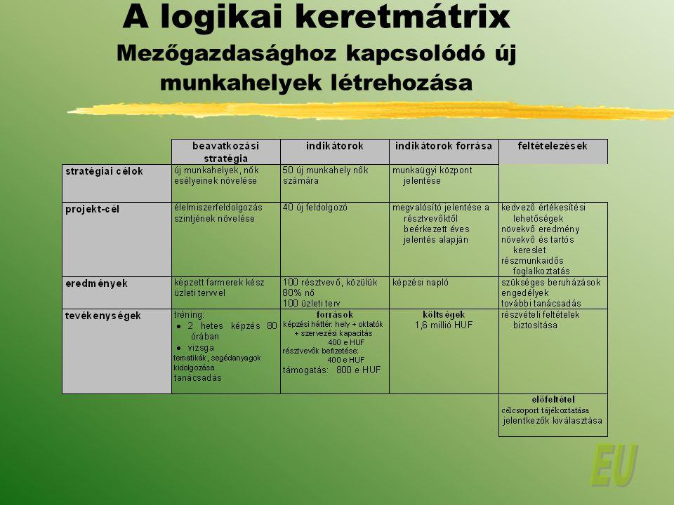 A logikai keretmátrix Mezőgazdasághoz kapcsolódó új munkahelyek létrehozása