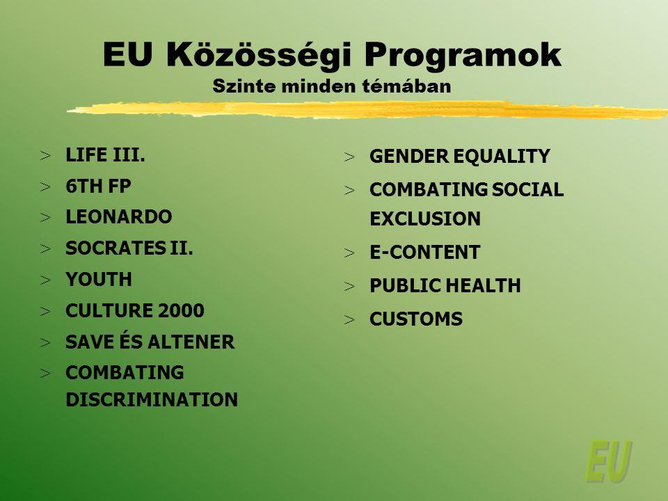 EU Közösségi Programok Szinte minden témában > LIFE III.