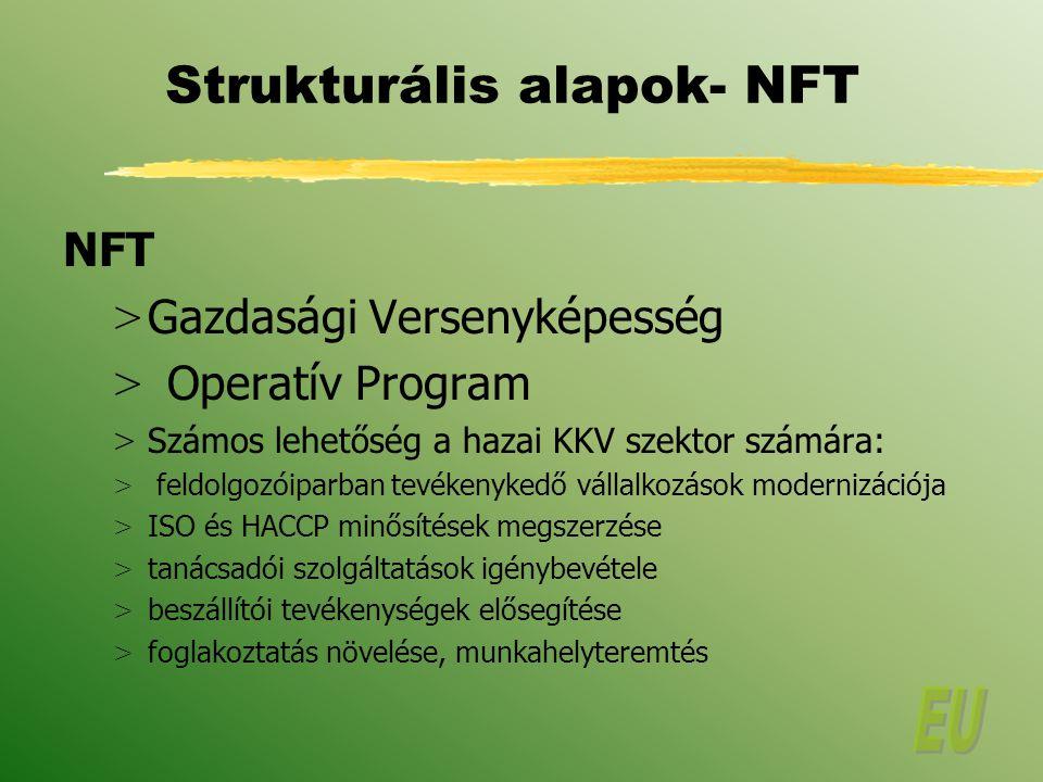 Strukturális alapok- NFT NFT > Gazdasági Versenyképesség > Operatív Program > Számos lehetőség a hazai KKV szektor számára: > feldolgozóiparban tevékenykedő vállalkozások modernizációja > ISO és HACCP minősítések megszerzése > tanácsadói szolgáltatások igénybevétele > beszállítói tevékenységek elősegítése > foglakoztatás növelése, munkahelyteremtés