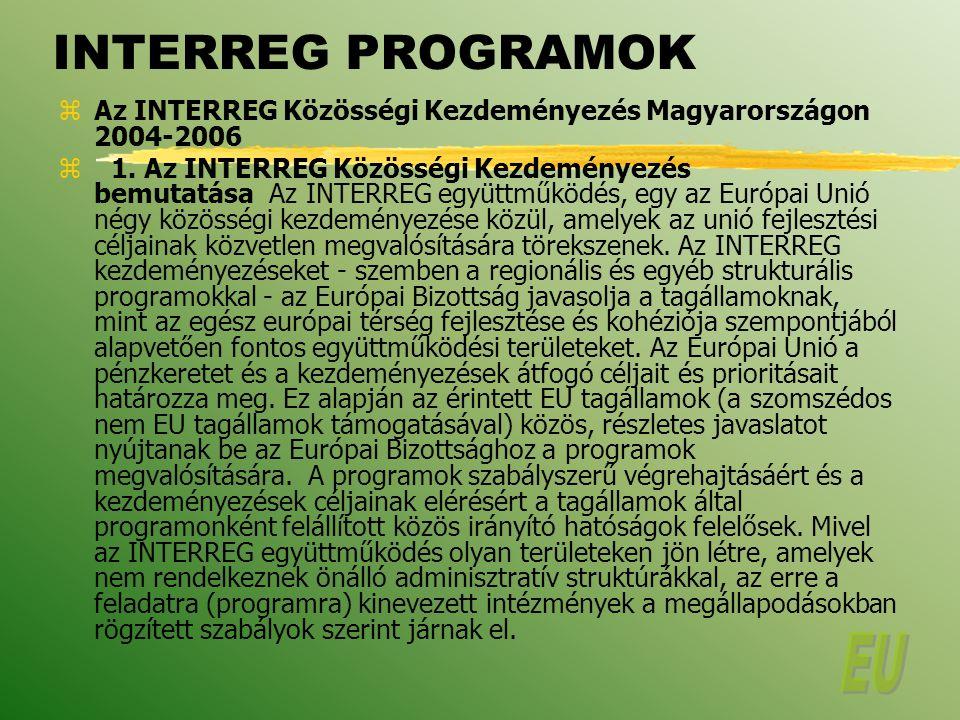 INTERREG PROGRAMOK zAz INTERREG Közösségi Kezdeményezés Magyarországon 2004-2006 z 1.