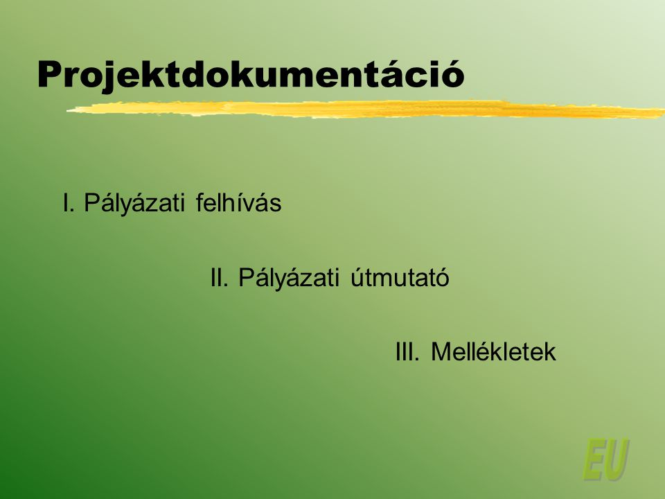 Projektdokumentáció I. Pályázati felhívás II. Pályázati útmutató III. Mellékletek