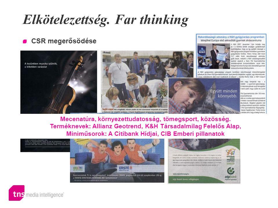 Elkötelezettség. Far thinking CSR megerősödése Mecenatúra, környezettudatosság, tömegsport, közösség. Terméknevek: Allianz Geotrend, K&H Társadalmilag